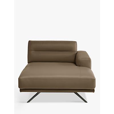 Natuzzi Timido 049 RHF Modular Leather Chaise, Chrome Leg