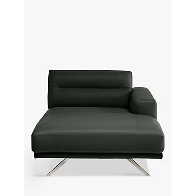 Natuzzi Timido 049 RHF Modular Leather Chaise, Nickel Leg