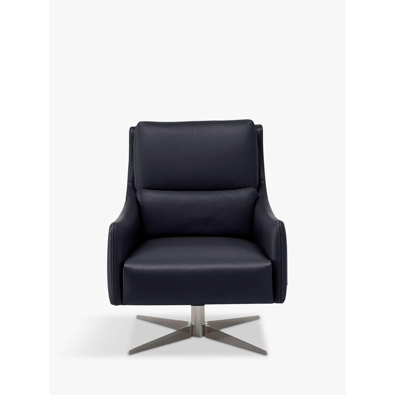 BuyNatuzzi Gloria Leather Swivel Armchair, Nickel Base, Cashmere Blue  Online At Johnlewis.com ...