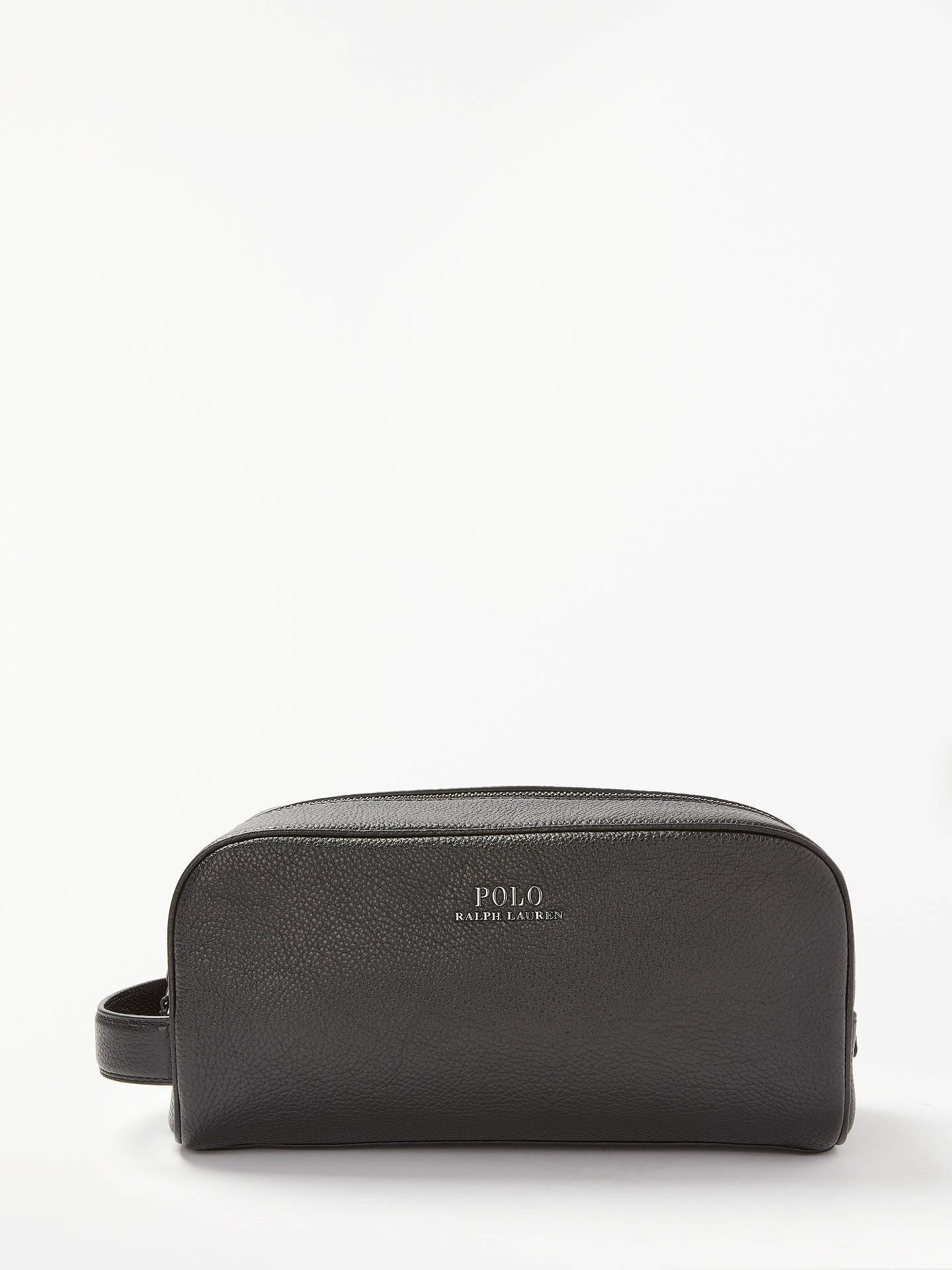 BuyPolo Ralph Lauren Pebble Leather Wash Bag, Black Online at johnlewis.com  ... 277c54c7b0