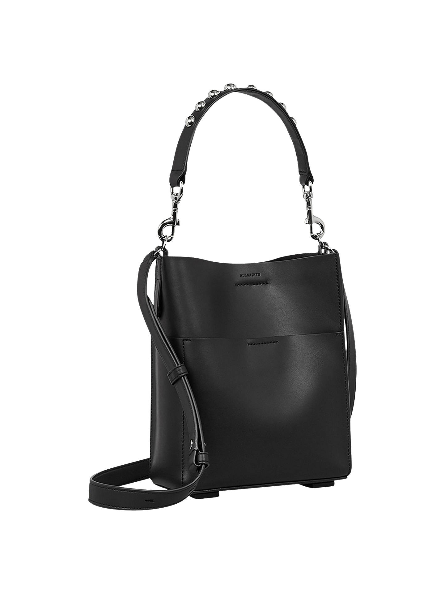 Allsaints Suzi Mini Leather Tote Bag Black Online At Johnlewis