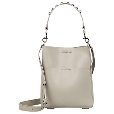 AllSaints Suzi Mini Leather Tote Bag, Slate Grey