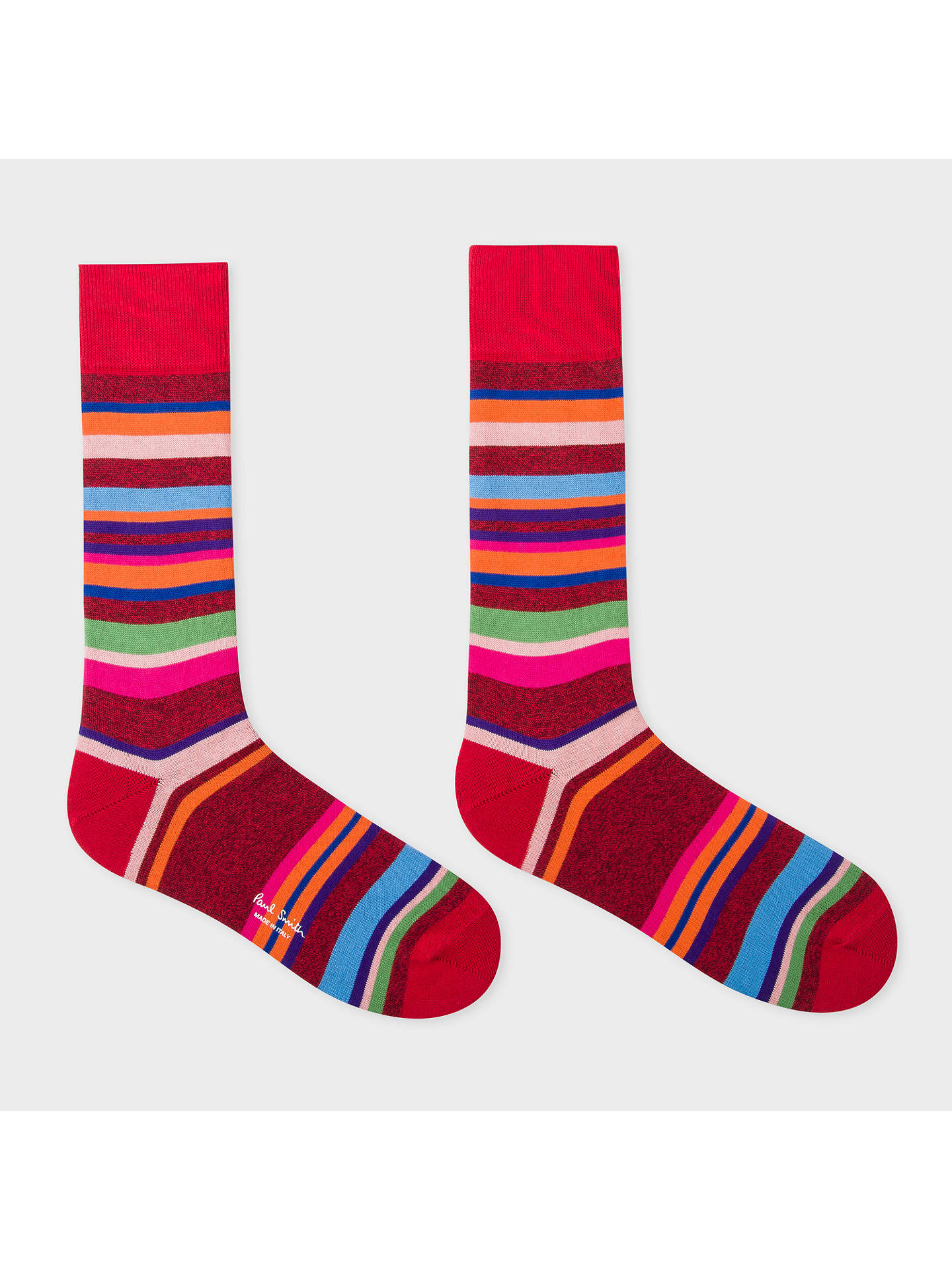 BuyPaul Smith Twisted Yarn Stripe Socks, One Size, Red/Multi Online at johnlewis.com