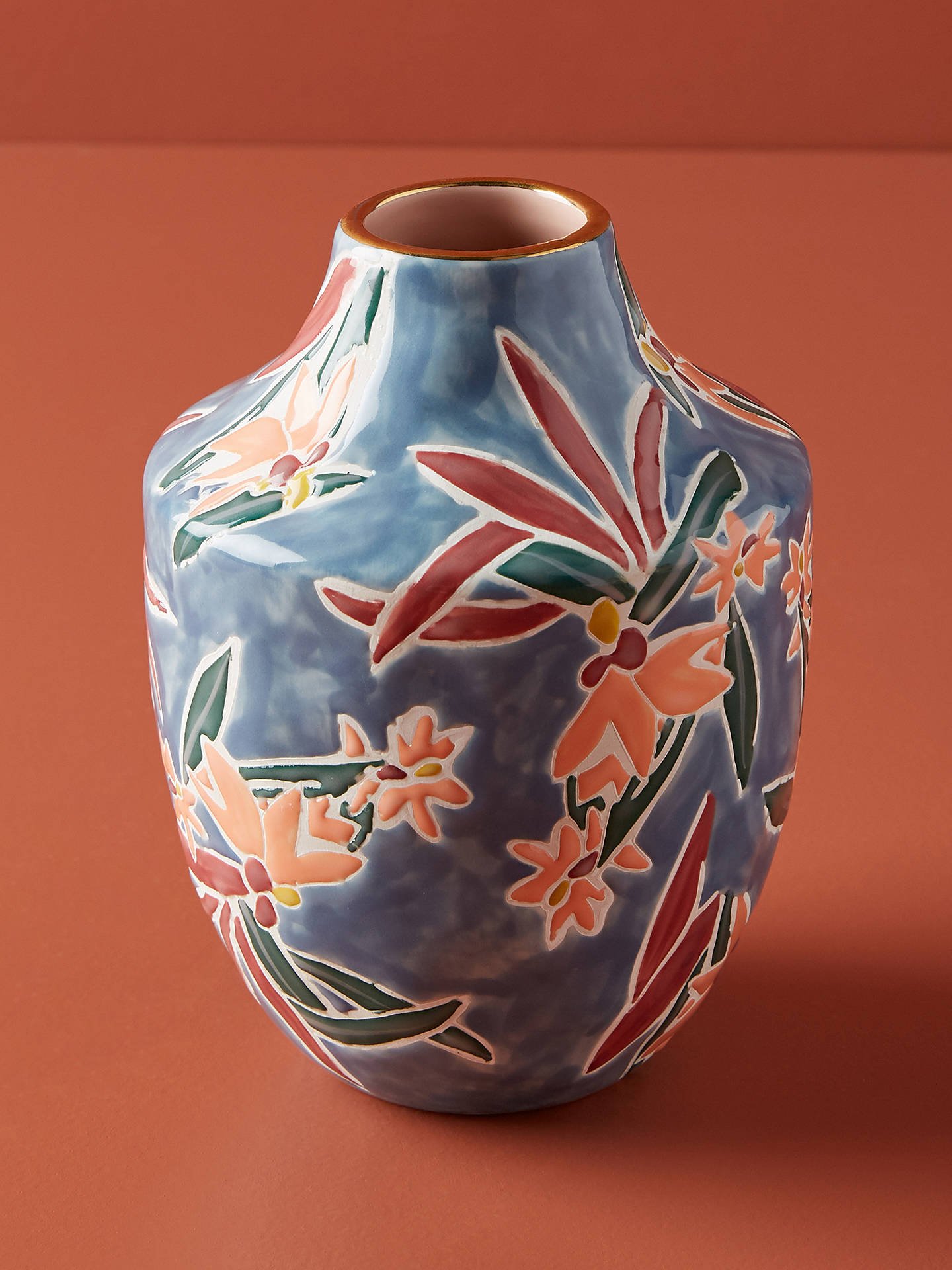 BuyAnthropologie Mathilde Medium Vase, Blue, H15cm Online at johnlewis.com