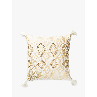 Anthropologie Ryleigh Embroidered Square Cushion, Ivory
