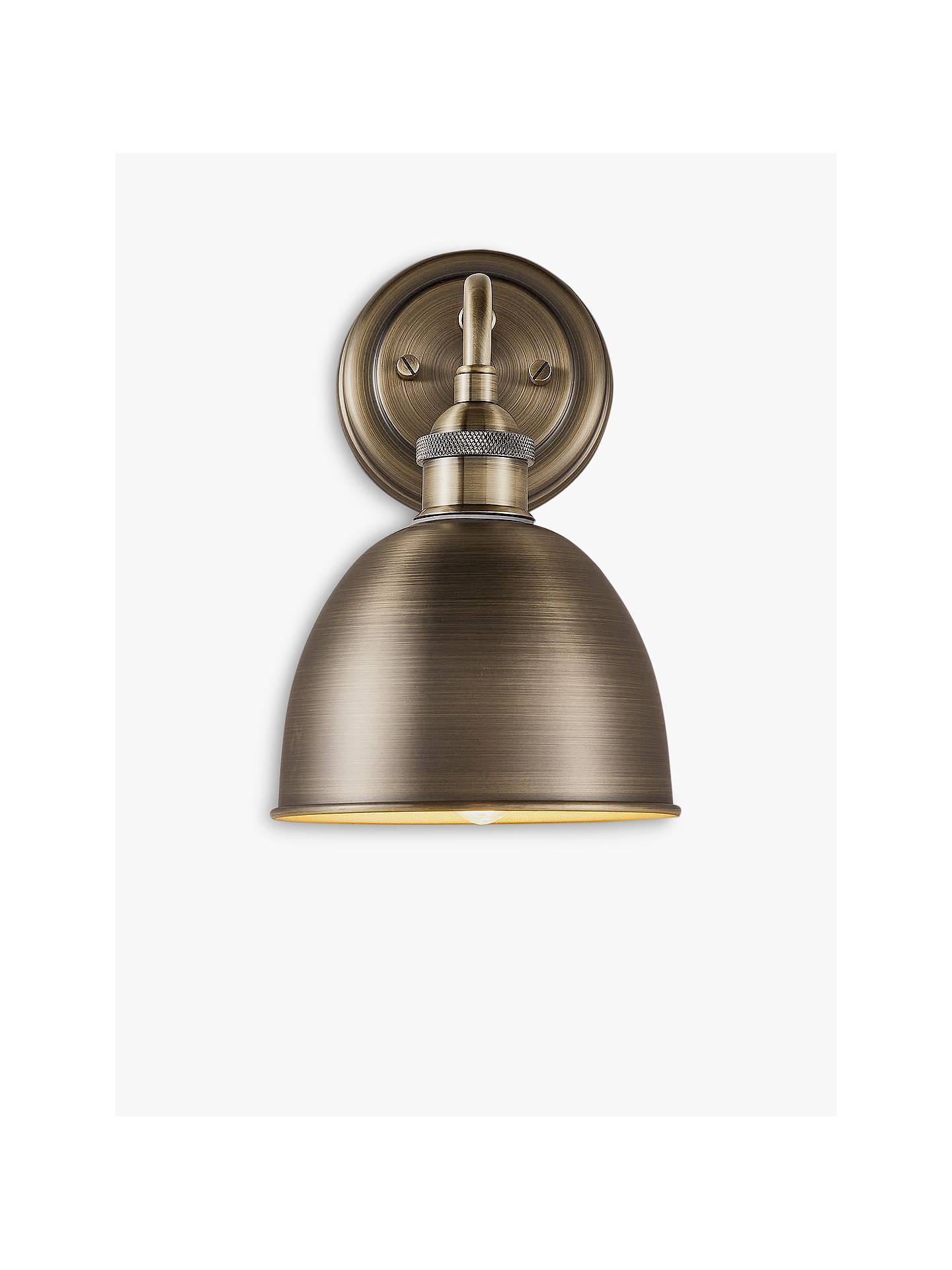 John Lewis & Partners Baldwin Bathroom Wall Light, Antique Brass
