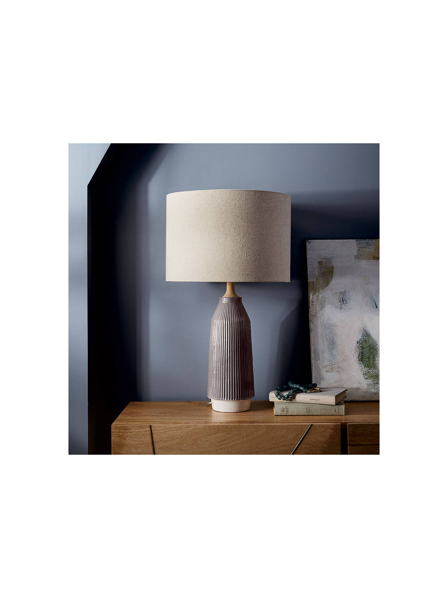 Buy Roar + Rabbit for west elm Ripple Small Ceramic Table Lamp, Grey Online at johnlewis.com