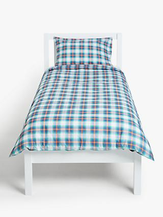 little home at John Lewis Check Duvet Cover and Pillowcase Set, Single, Multi