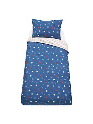 little home at John Lewis Galaxy Star Reversible Duvet Cover and Pillowcase Set, Single, Multi