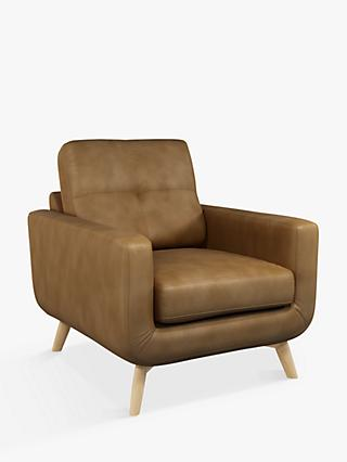 John Lewis & Partners Barbican Leather Armchair, Light Leg, Demetra Light Tan