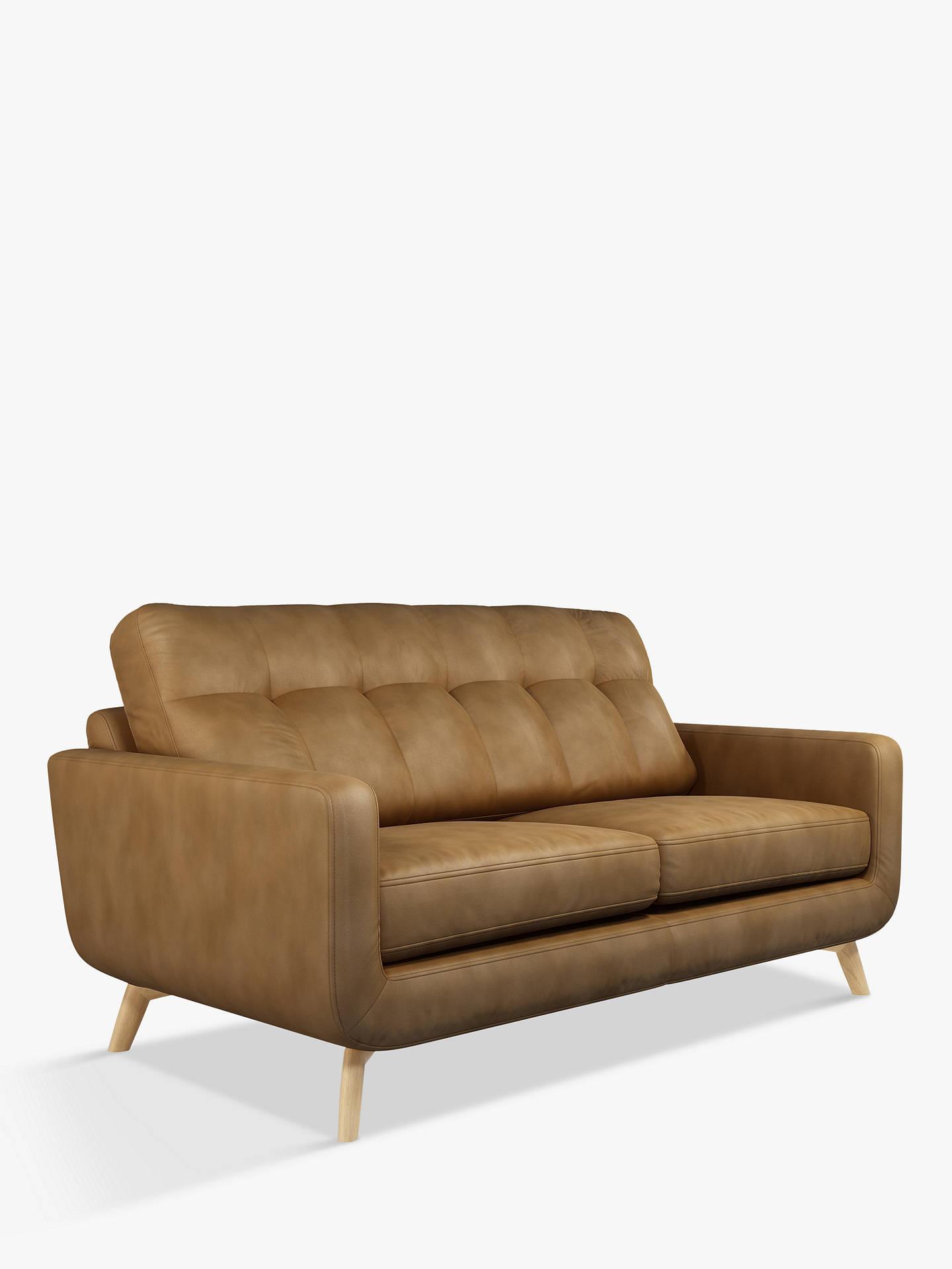 John Lewis Partners Barbican Medium 2 Seater Leather Sofa Light Leg Demetra Light Tan