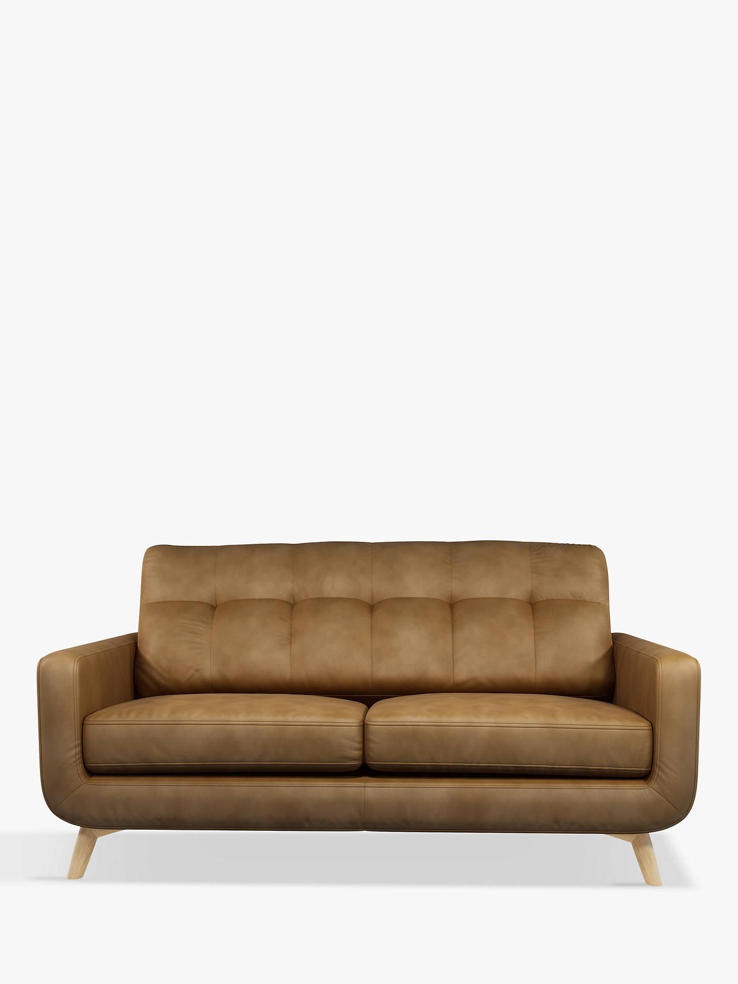 John Lewis Partners Barbican Medium 2 Seater Leather Sofa Light Leg Demetra