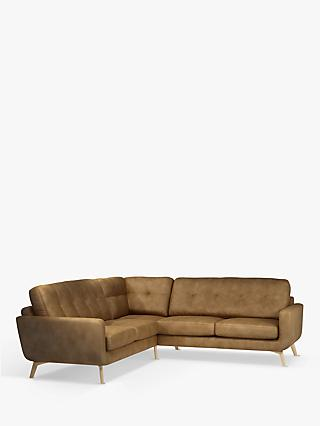 John Lewis & Partners Barbican Leather Corner Sofa, Light Leg, Demetra Light Tan
