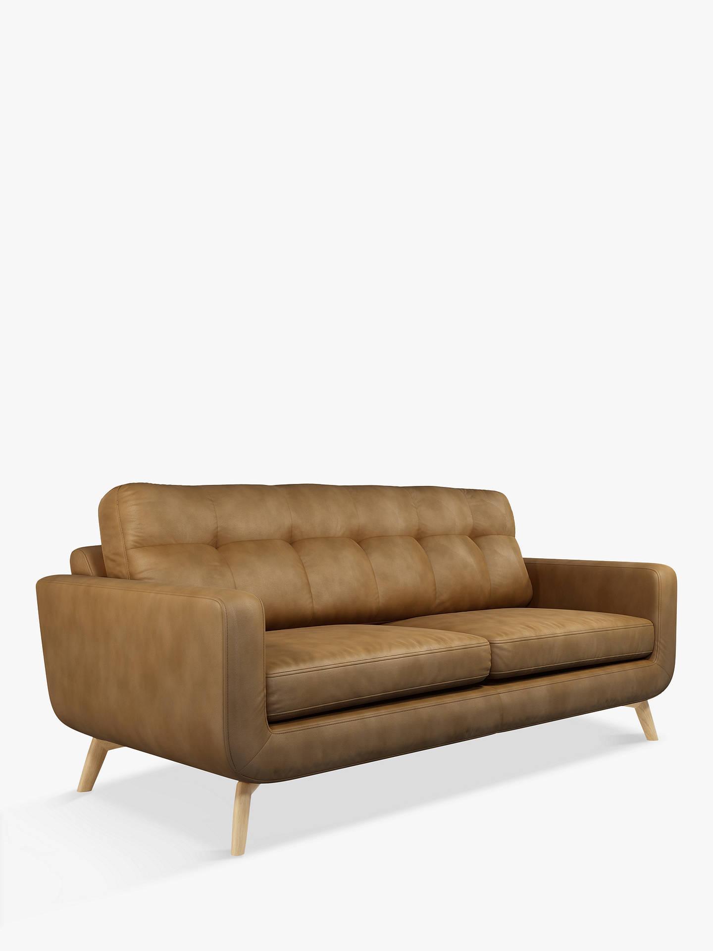 John Lewis & Partners Barbican Large 3 Seater Leather Sofa, Light Leg,  Demetra Light Tan