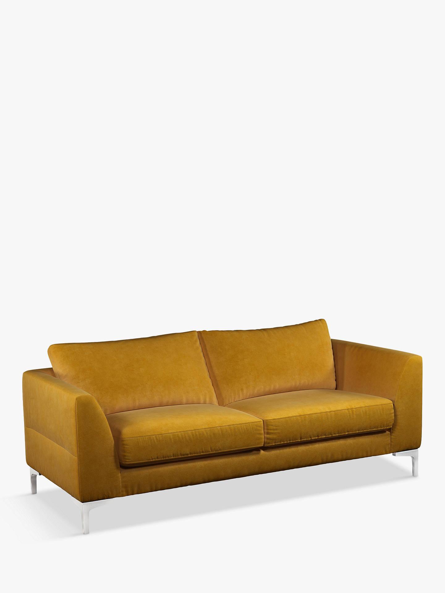 Amazing John Lewis Partners Belgrave Large 3 Seater Velvet Sofa Metal Leg Aquaclean Harriet Mustard Machost Co Dining Chair Design Ideas Machostcouk