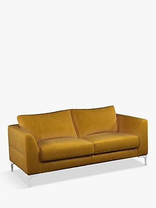 John Lewis & Partners Belgrave Medium 2 Seater Velvet Sofa, Metal Leg, Aquaclean Harriet Mustard