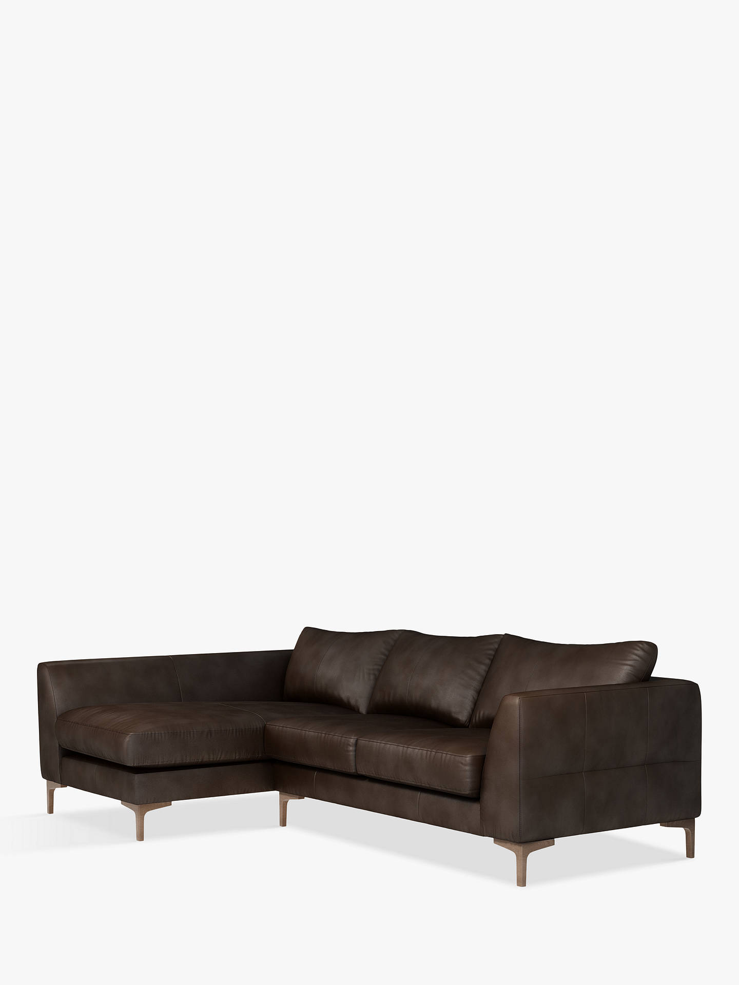 Buy John Lewis & Partners Belgrave LHF Chaise End Leather Sofa, Dark Leg, Nature Brown Online at johnlewis.com