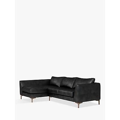 John Lewis & Partners Belgrave LHF Chaise End Leather Sofa, Dark Leg