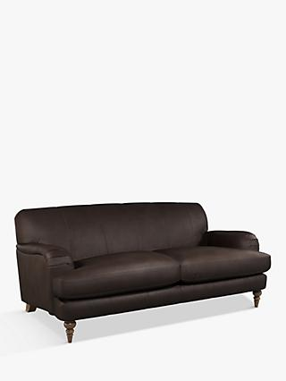 John Lewis & Partners Harrogate High Back Large 3 Seater Leather Sofa, Dark Leg