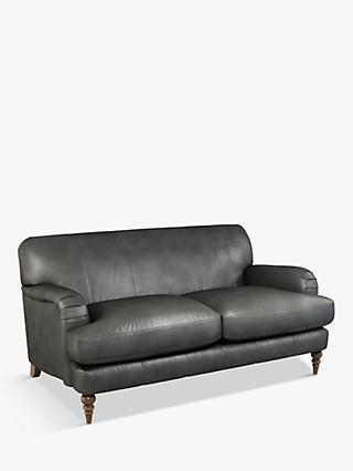 John Lewis & Partners Harrogate High Back Medium 2 Seater Leather Sofa, Dark Leg