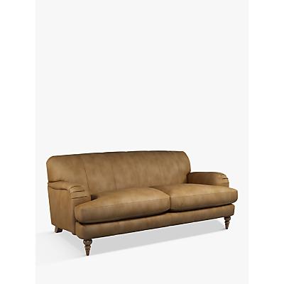 John Lewis & Partners Harrogate High Back Large 3 Seater Leather Sofa, Dark Leg