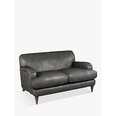 John Lewis & Partners Harrogate High Back Small 2 Seater Leather Sofa, Dark Leg