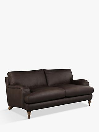 John Lewis & Partners Otley Large 3 Seater Leather Sofa, Dark Leg