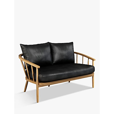 John Lewis & Partners Frome Leather Loveseat, Light Leg