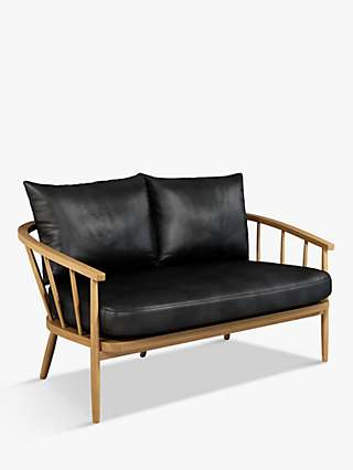 Croft Collection Frome Leather Loveseat, Light Leg