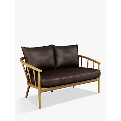 John Lewis & Partners Frome Leather Loveseat, Light Leg