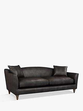 Croft Collection Melrose Grand 4 Seater Leather Sofa, Dark Leg