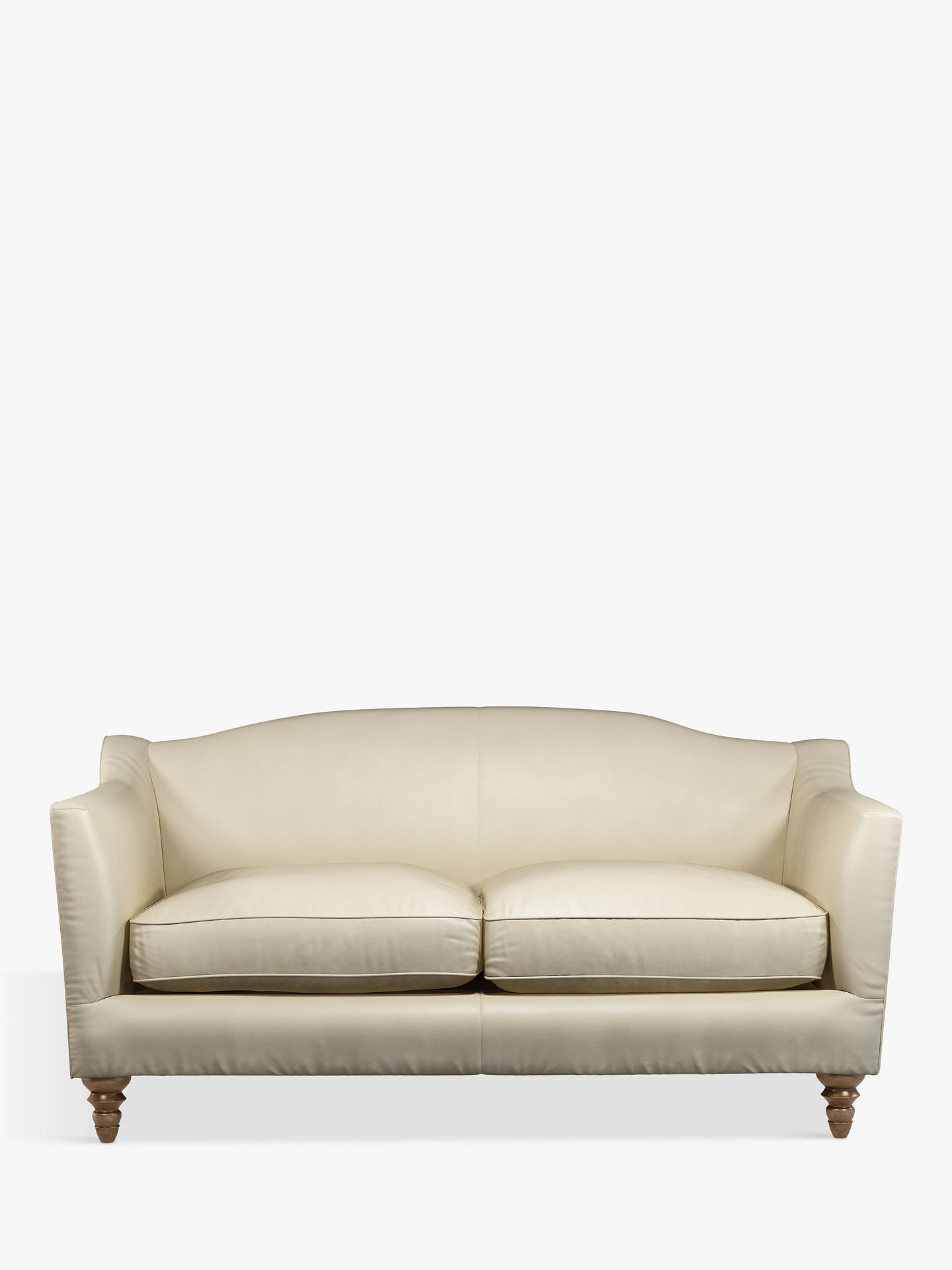 Buy Croft Collection Melrose Small 2 Seater Leather Sofa, Dark Leg, Contempo Ivory Online at johnlewis.com