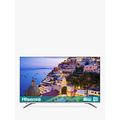 Hisense 43A6500 LED HDR 4K Ultra HD Smart TV, 43 with Freeview Play, Black/Silver