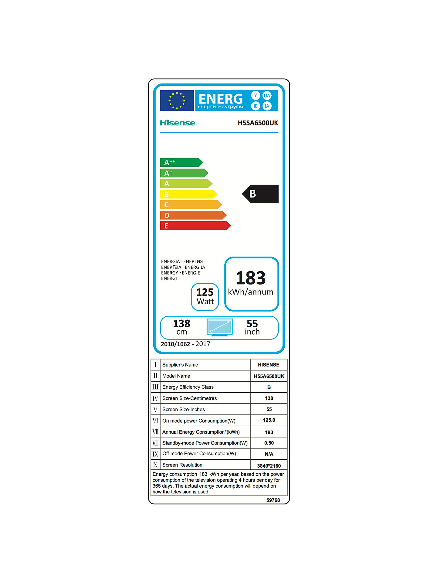 Hisense 55A6500 LED HDR 4K Ultra HD Smart TV, 55