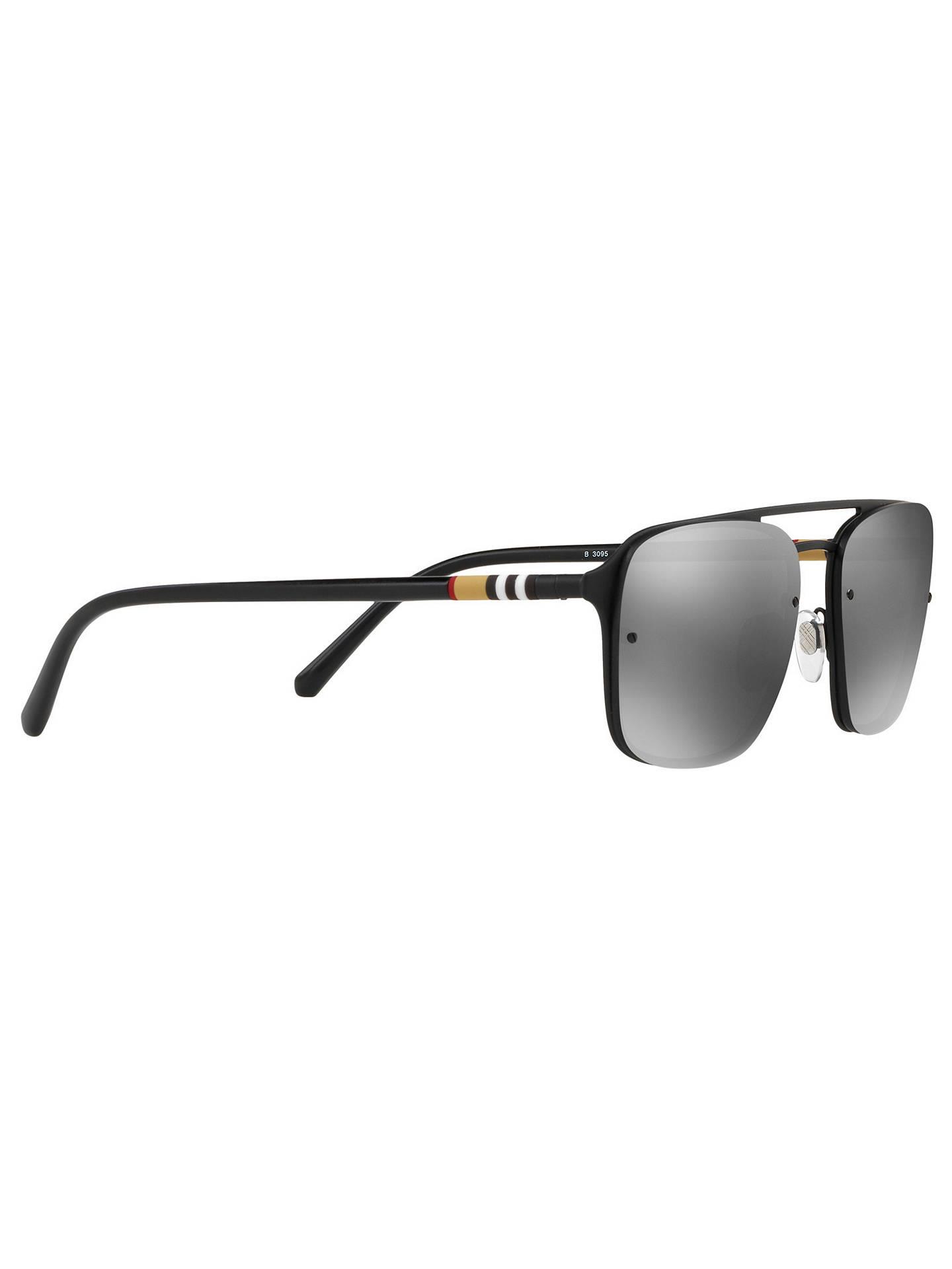 96e6684c4b20 ... Buy Burberry BE3095 Men's Square Sunglasses, Black/Mirror Grey Online  at johnlewis.com