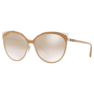 Burberry BE3096 Women's Cat's Eye Sunglasses, Tan/Mirror Gold