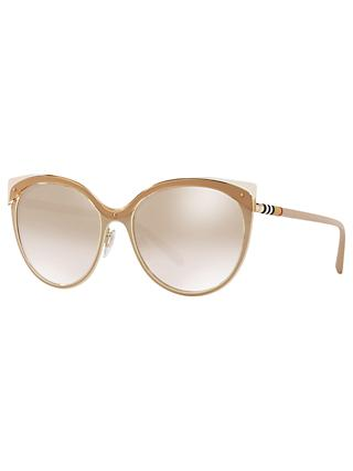 Burberry BE3096 Women's Cat's Eye Sunglasses, Tan/Mirror Gold