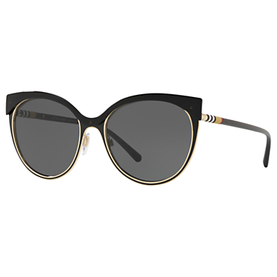 Burberry BE3096 Women's Cat's Eye Sunglasses, Black/Grey