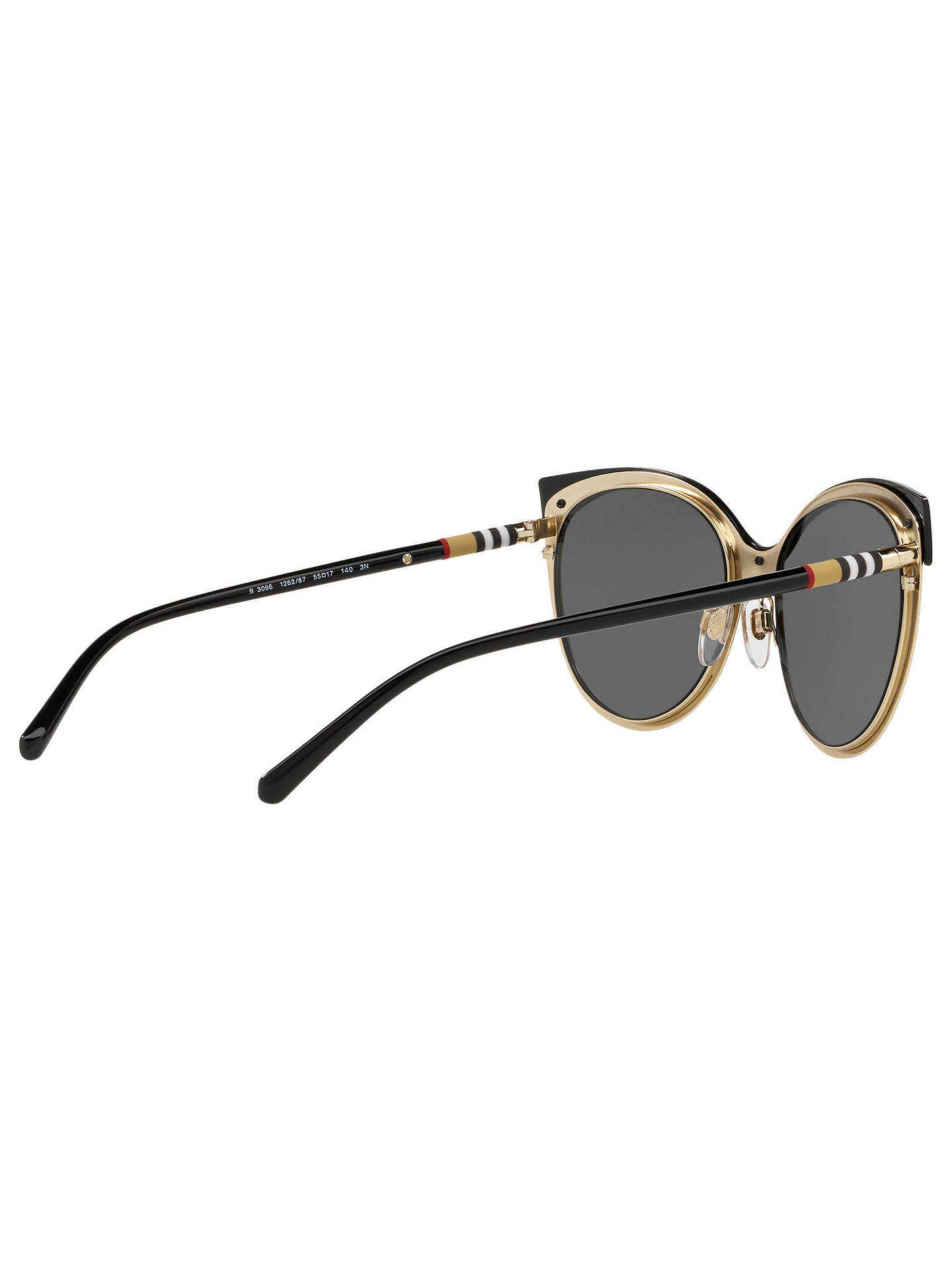 BuyBurberry BE3096 Women's Cat's Eye Sunglasses, Black/Grey Online at johnlewis.com