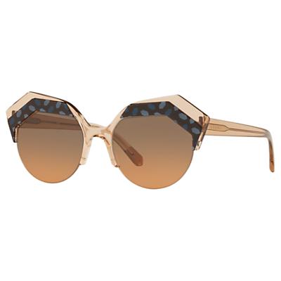 BVLGARI BV8203 Women's Embellished Round Sunglasses, Camel/Brown Gradient