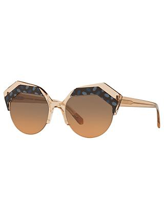 BVLGARI BV8203 Women's Embellished Round Sunglasses, Camel/Brown Gradient