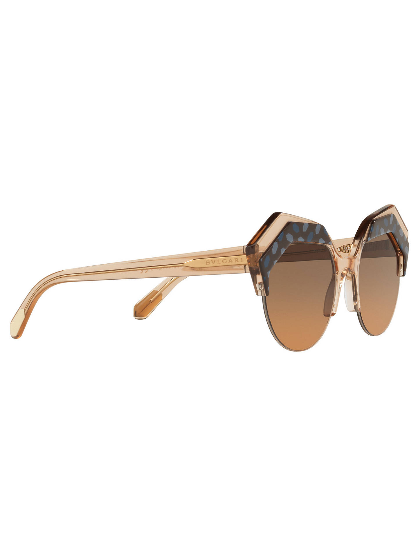 BuyBVLGARI BV8203 Women's Embellished Round Sunglasses, Camel/Brown Gradient Online at johnlewis.com