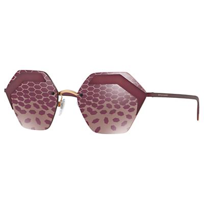 BVLGARI BV6089 Women's Hexagonal Sunglasses, Burgundy