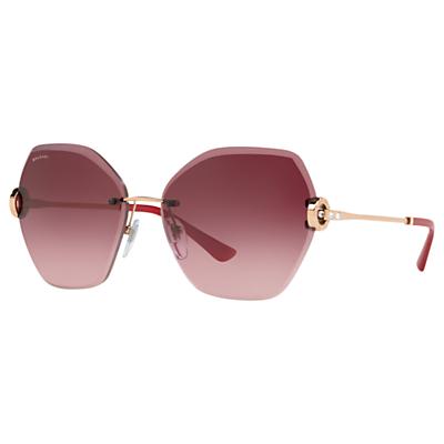 BVLGARI BV6105 Women's Hexagonal Sunglasses, Pink/Gold