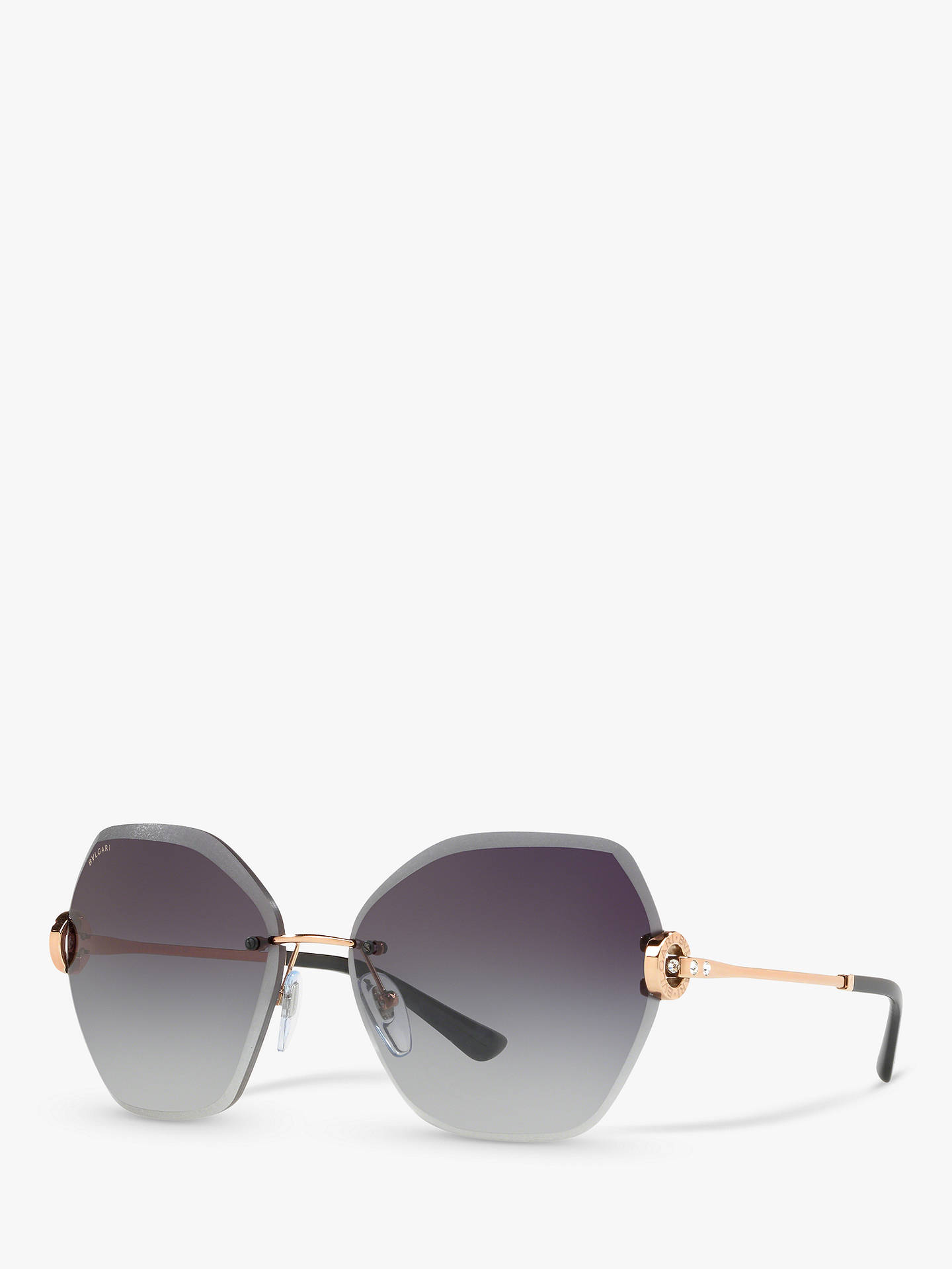 BuyBVLGARI BV6105B62 Women's Hexagonal Sunglasses, Grey Online at johnlewis.com