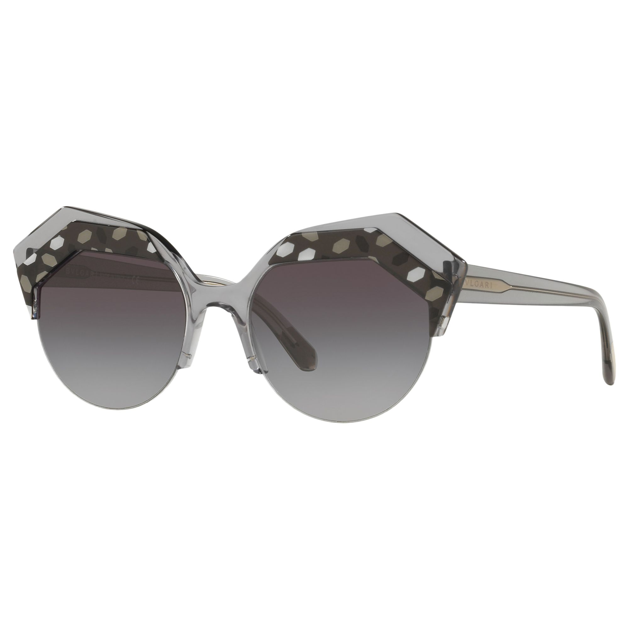 Bvlgari BVLGARI BV8203 Women's Embellished Round Sunglasses, Clear Grey/Grey Gradient