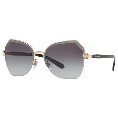 BVLGARI BV6102B Women's Geometric Sunglasses, Grey/Gold