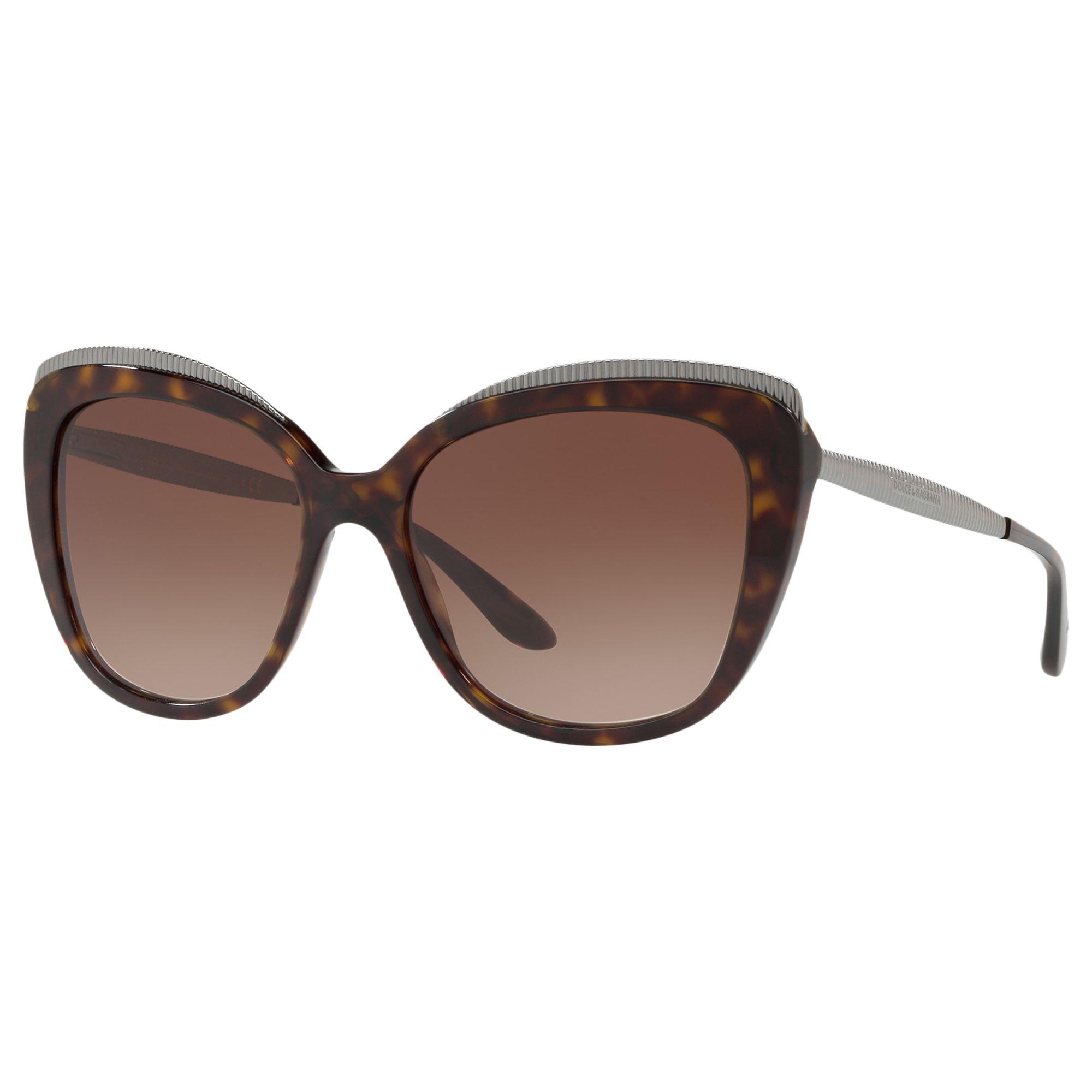 06511e2fa Dolce & Gabbana 4332 Women's Cat-Eye Sunglasses, Brown at John Lewis &  Partners