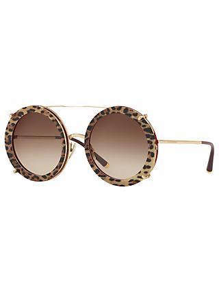 c801689183fc Dolce & Gabbana DG2198 Women's Round Sunglasses, Gold/Brown Gradient