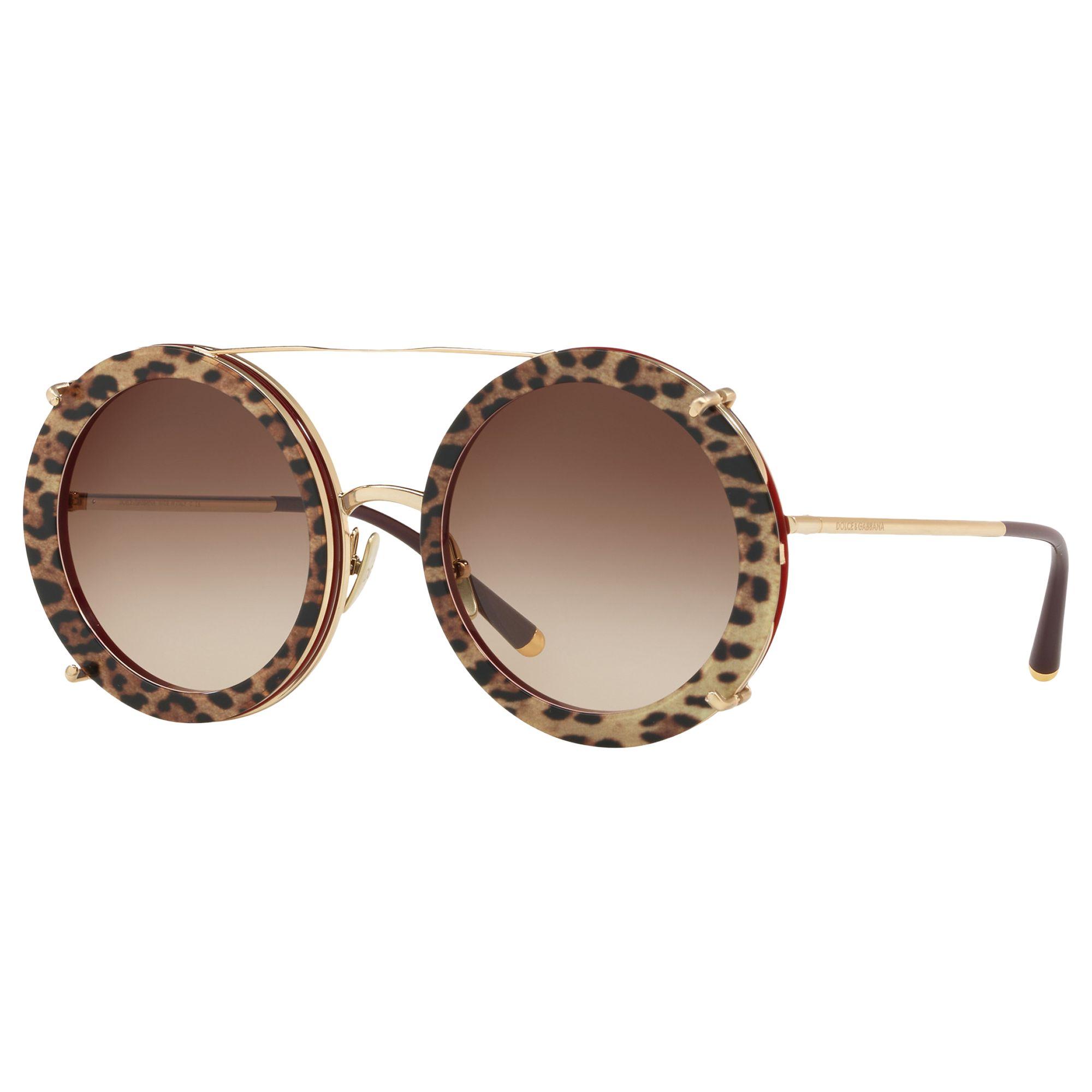 Dolce & Gabbana Dolce & Gabbana DG2198 Women's Round Sunglasses, Gold/Brown Gradient